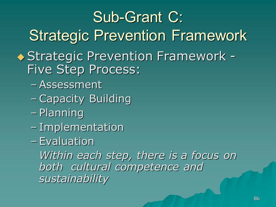 86 Sub-Grant C: Strategic Prevention Framework Strategic Prevention Framework - Five Step Process: Strategic Prevention Framework - Five Step Process: