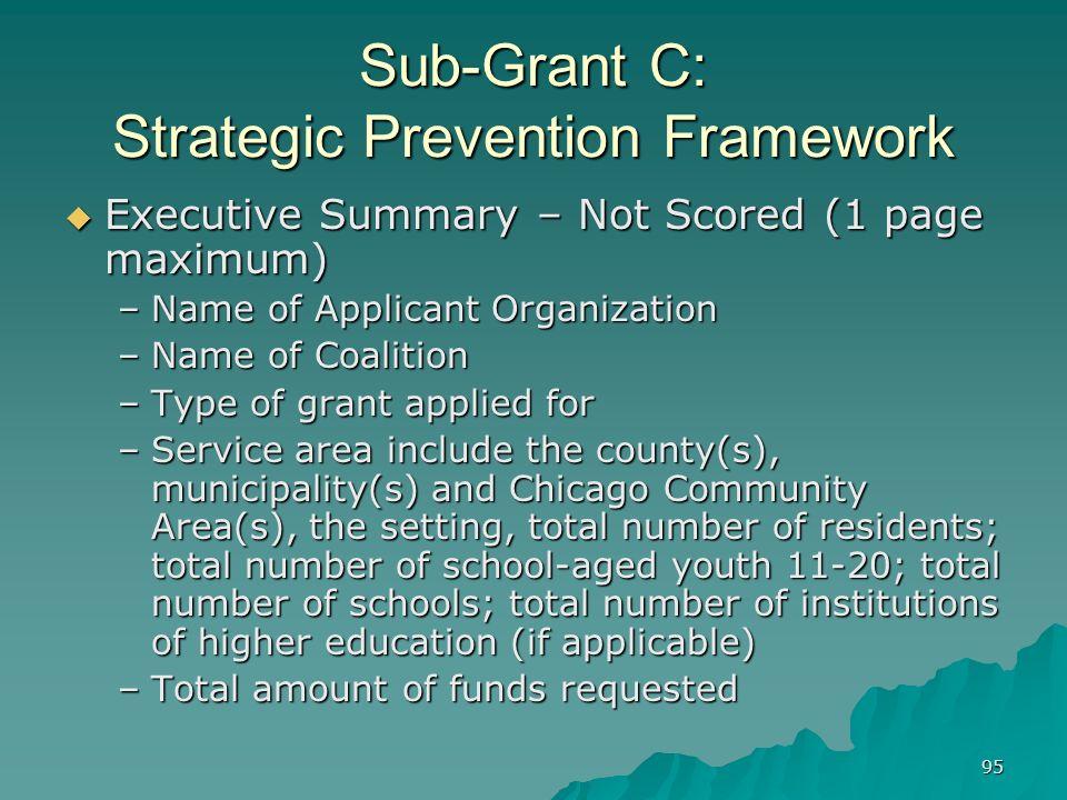 95 Sub-Grant C: Strategic Prevention Framework Executive Summary – Not Scored (1 page maximum) Executive Summary – Not Scored (1 page maximum) –Name o
