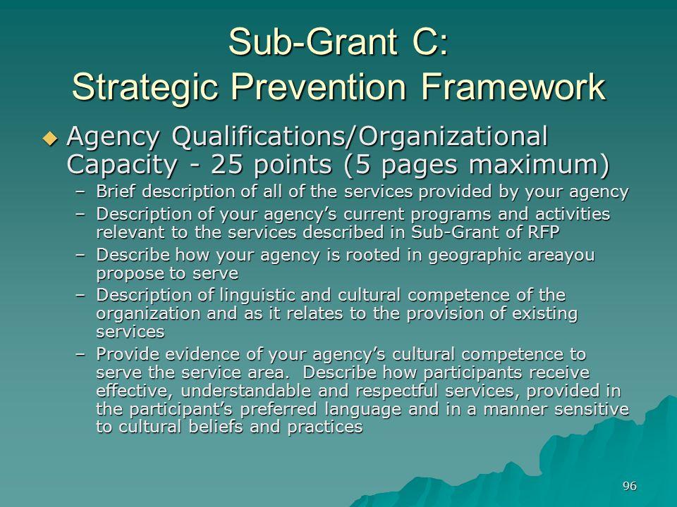 96 Sub-Grant C: Strategic Prevention Framework Agency Qualifications/Organizational Capacity - 25 points (5 pages maximum) Agency Qualifications/Organ