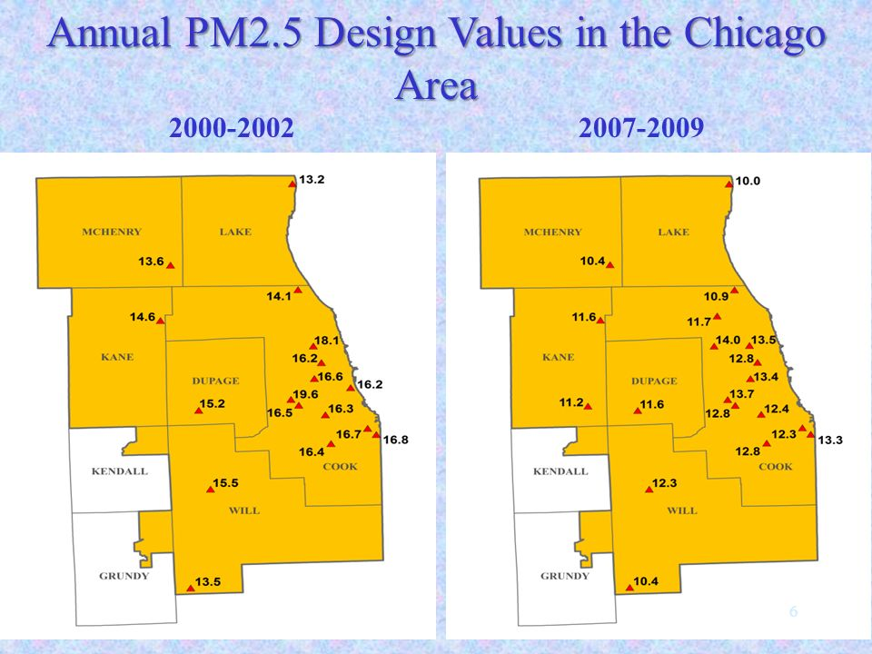 Annual PM2.5 Design Values in the Chicago Area 2000-2002 2007-2009 6