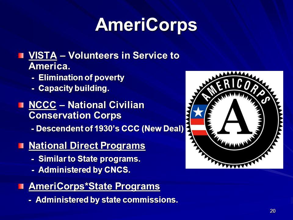 20 AmeriCorps VISTA – Volunteers in Service to America. - Elimination of poverty - Elimination of poverty - Capacity building. - Capacity building. NC