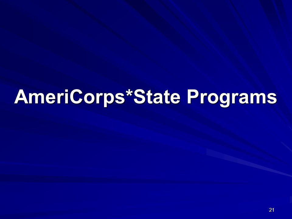 21 AmeriCorps*State Programs