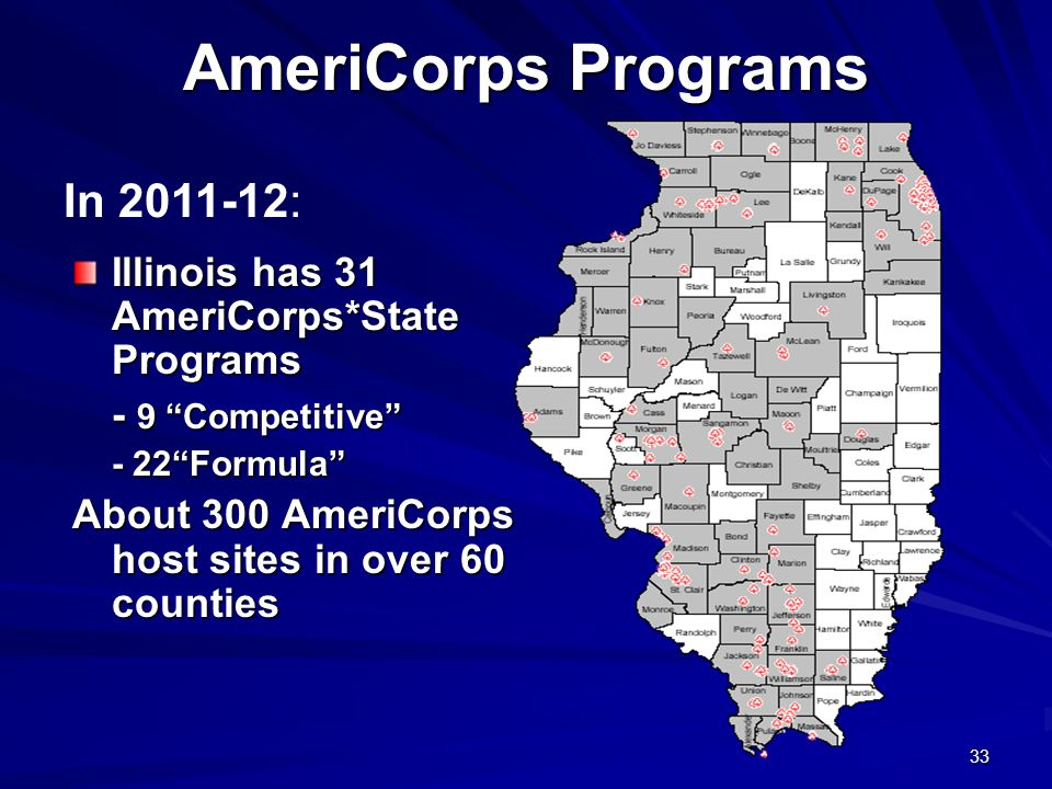 33 AmeriCorps Programs Illinois has 31 AmeriCorps*State Programs - 9 Competitive - 22Formula About 300 AmeriCorps host sites in over 60 counties In 2011-12: