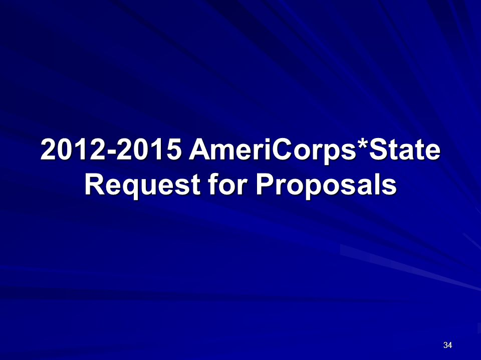 34 2012-2015 AmeriCorps*State Request for Proposals