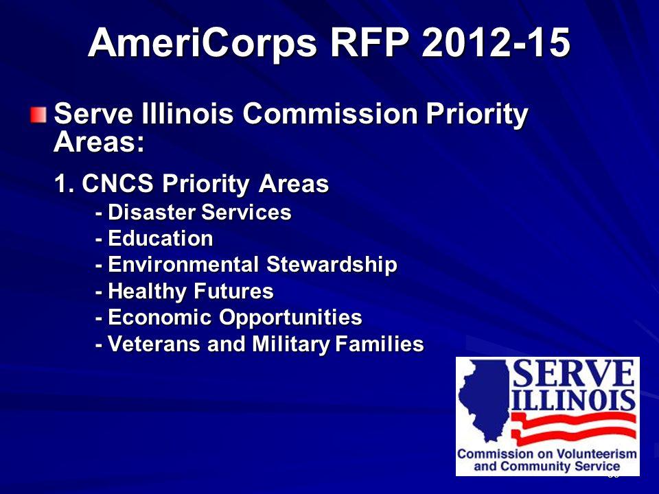 39 AmeriCorps RFP 2012-15 Serve Illinois Commission Priority Areas: 1. CNCS Priority Areas 1. CNCS Priority Areas - Disaster Services - Education - En