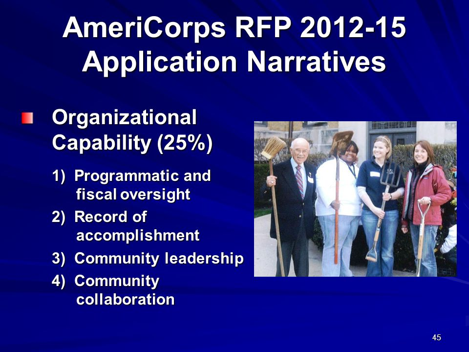 45 AmeriCorps RFP 2012-15 Application Narratives Organizational Capability (25%) 1) Programmatic and fiscal oversight 2) Record of accomplishment 3) Community leadership 4) Community collaboration