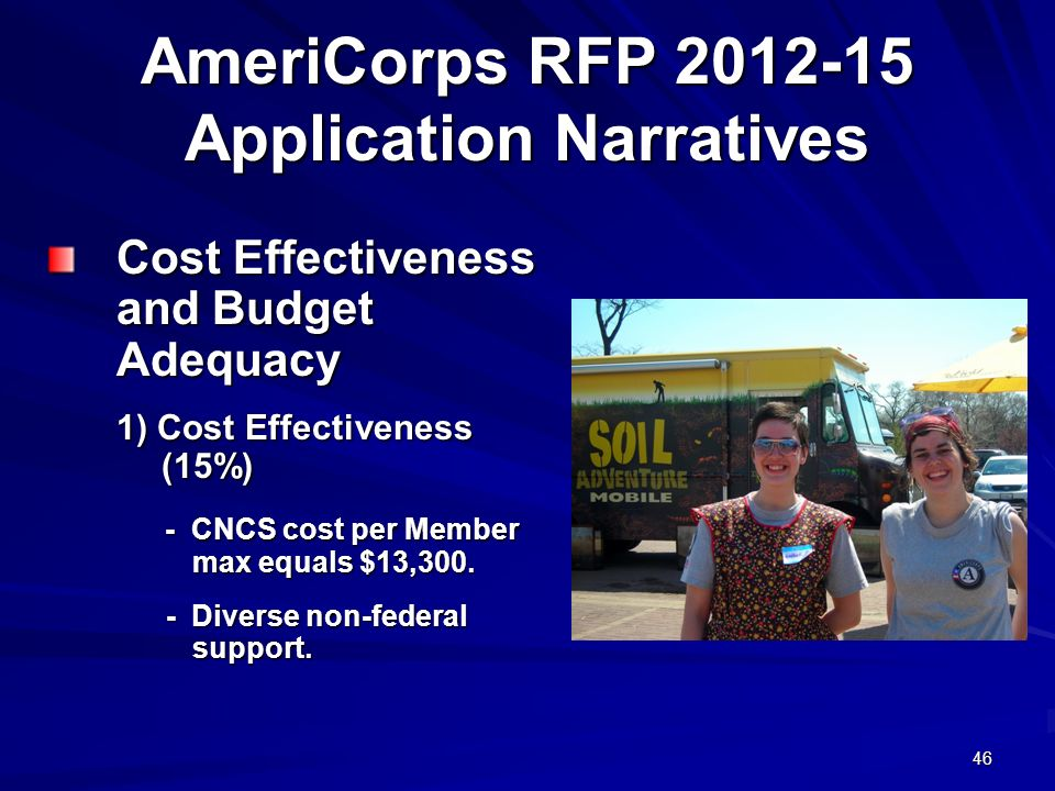 46 AmeriCorps RFP 2012-15 Application Narratives Cost Effectiveness and Budget Adequacy 1) Cost Effectiveness (15%) - CNCS cost per Member max equals $13,300.