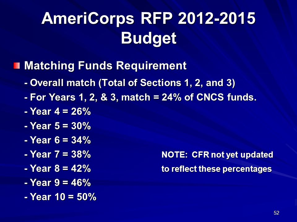 52 AmeriCorps RFP 2012-2015 Budget Matching Funds Requirement - Overall match (Total of Sections 1, 2, and 3) - For Years 1, 2, & 3, match = 24% of CNCS funds.