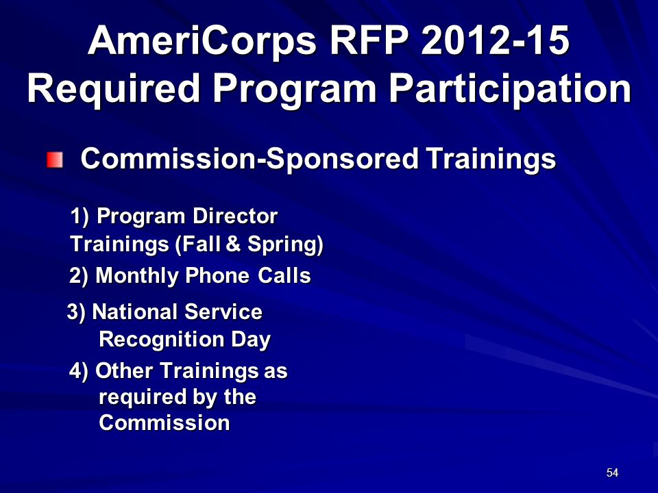 54 AmeriCorps RFP 2012-15 Required Program Participation 1) Program Director Trainings (Fall & Spring) 2) Monthly Phone Calls 2) Monthly Phone Calls 3) National Service Recognition Day 3) National Service Recognition Day 4) Other Trainings as required by the Commission 4) Other Trainings as required by the Commission Commission-Sponsored Trainings Commission-Sponsored Trainings