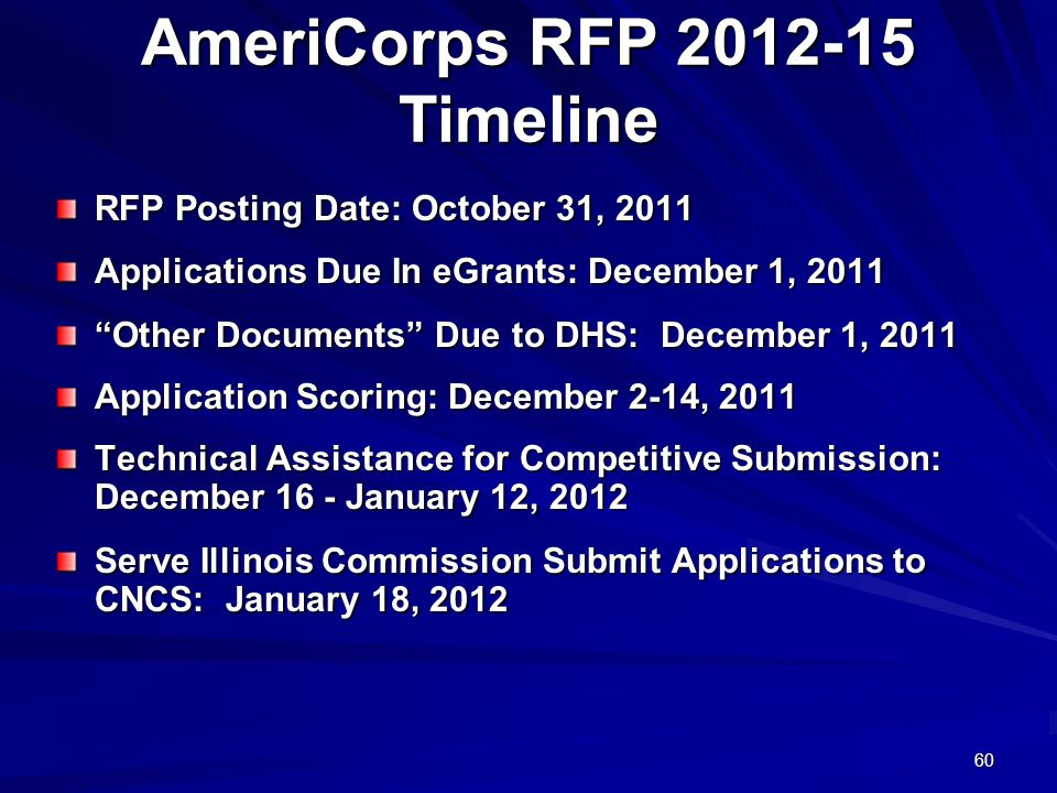 60 AmeriCorps RFP 2012-15 Timeline RFP Posting Date: October 31, 2011 Applications Due In eGrants: December 1, 2011 Other Documents Due to DHS: December 1, 2011 Application Scoring: December 2-14, 2011 Technical Assistance for Competitive Submission: December 16 - January 12, 2012 Serve Illinois Commission Submit Applications to CNCS: January 18, 2012