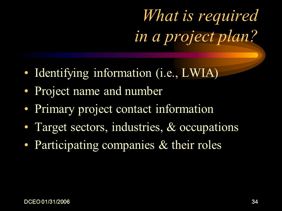 DCEO 01/31/200634 What is required in a project plan? Identifying information (i.e., LWIA) Project name and number Primary project contact information