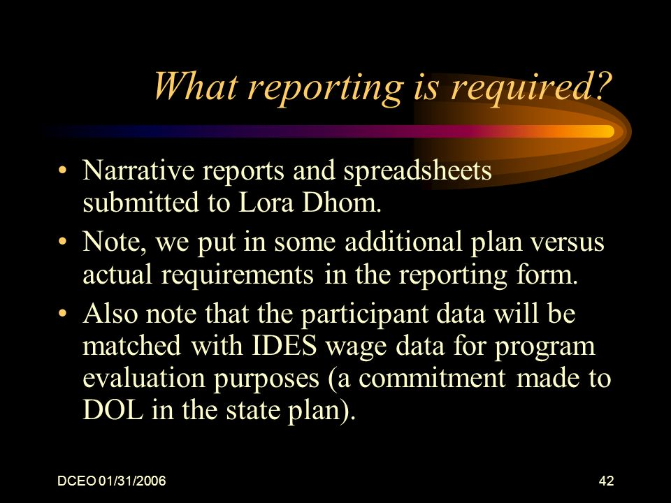 DCEO 01/31/200642 What reporting is required.