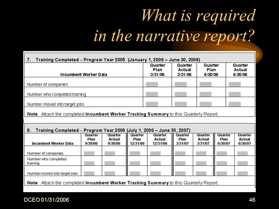 DCEO 01/31/200646 What is required in the narrative report?