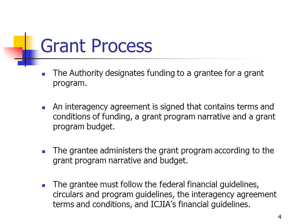 4 Grant Process The Authority designates funding to a grantee for a grant program.