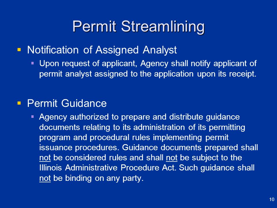 Permit Streamlining Notification of Assigned Analyst Upon request of applicant, Agency shall notify applicant of permit analyst assigned to the applic