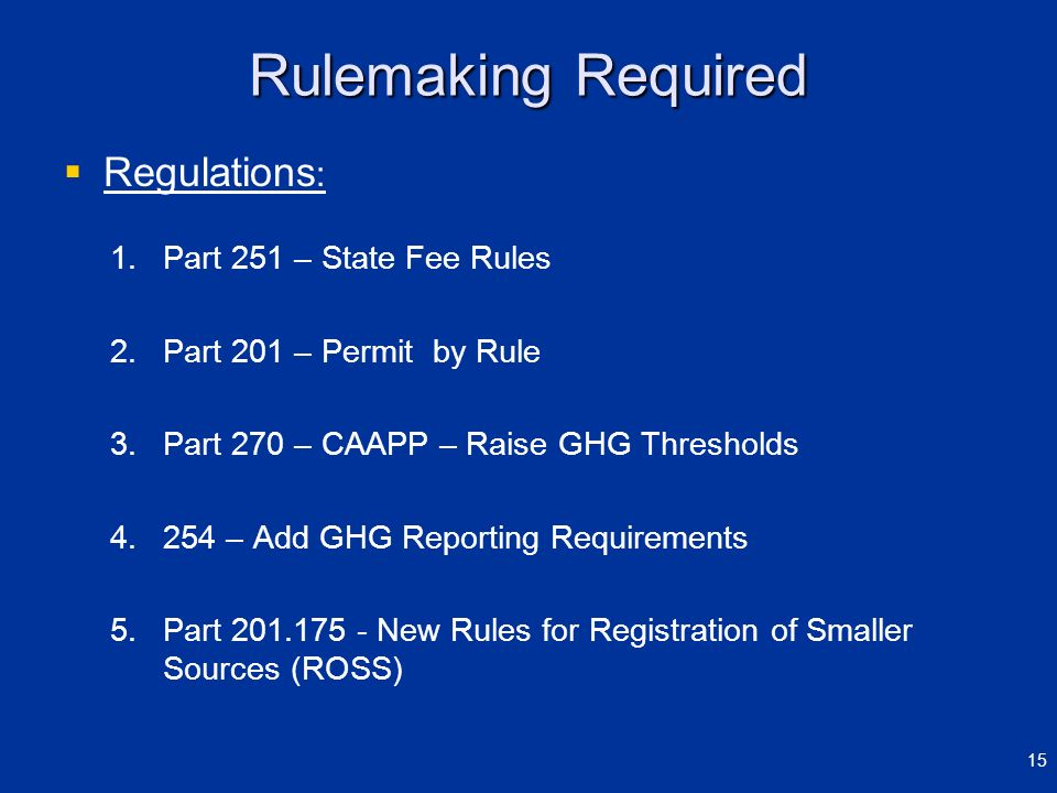 Rulemaking Required Regulations : 1. 1.Part 251 – State Fee Rules 2. 2.Part 201 – Permit by Rule 3. 3.Part 270 – CAAPP – Raise GHG Thresholds 4. 4.254