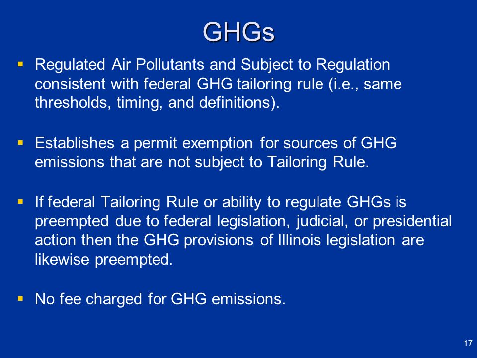 GHGs Regulated Air Pollutants and Subject to Regulation consistent with federal GHG tailoring rule (i.e., same thresholds, timing, and definitions). E