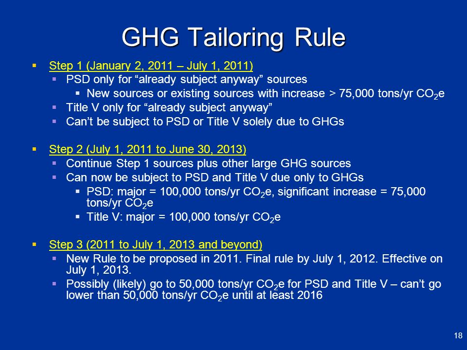 GHG Tailoring Rule Step 1 (January 2, 2011 – July 1, 2011) PSD only for already subject anyway sources New sources or existing sources with increase >