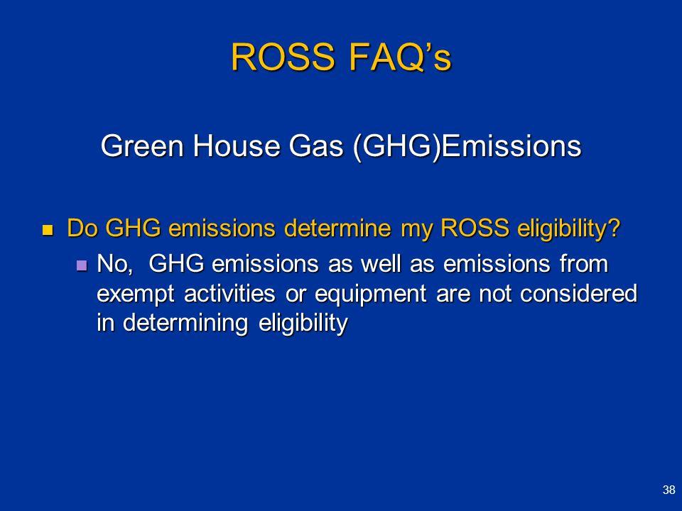 ROSS FAQs Green House Gas (GHG)Emissions Do GHG emissions determine my ROSS eligibility? Do GHG emissions determine my ROSS eligibility? No, GHG emiss