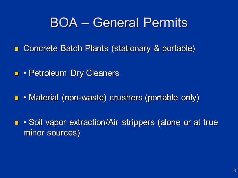 BOA – General Permits Concrete Batch Plants (stationary & portable) Concrete Batch Plants (stationary & portable) Petroleum Dry Cleaners Petroleum Dry