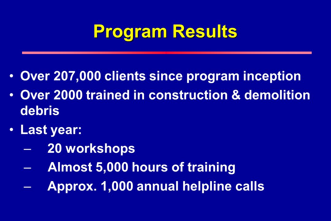 Program Results Over 207,000 clients since program inception Over 2000 trained in construction & demolition debris Last year: – 20 workshops – Almost 5,000 hours of training – Approx.