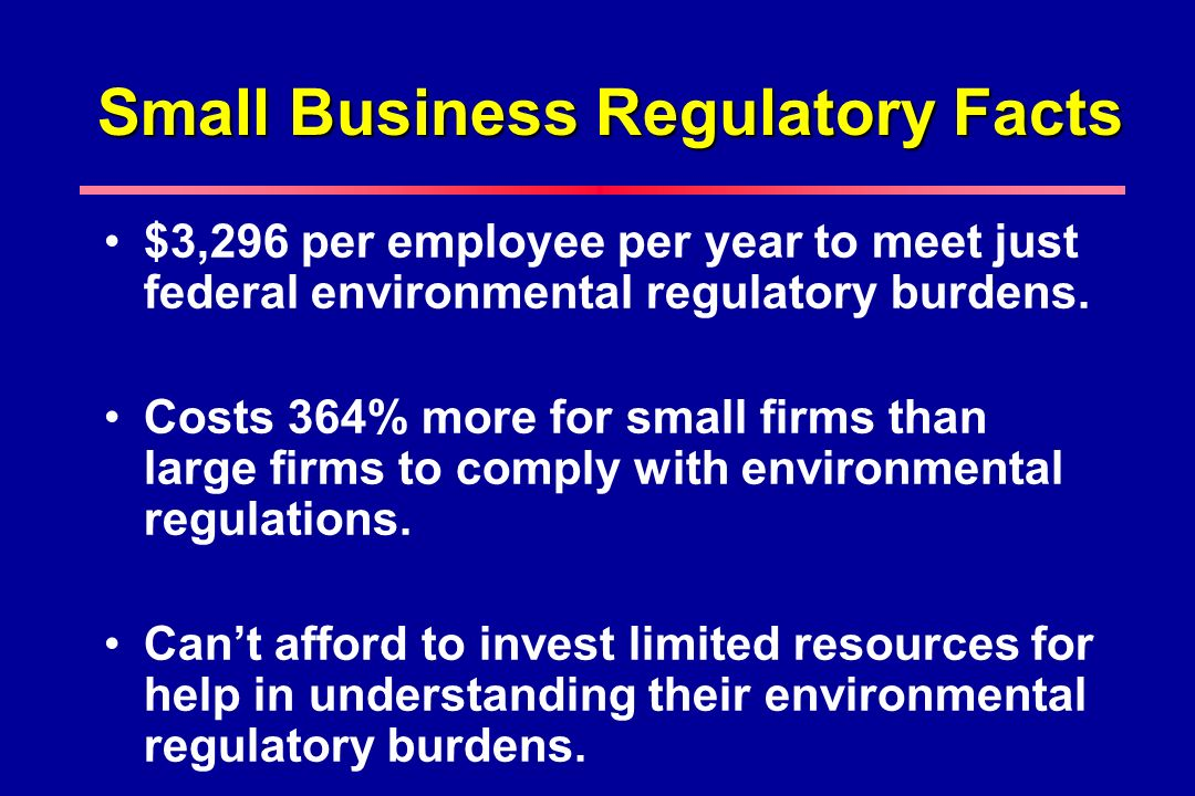 Small Business Regulatory Facts $3,296 per employee per year to meet just federal environmental regulatory burdens.
