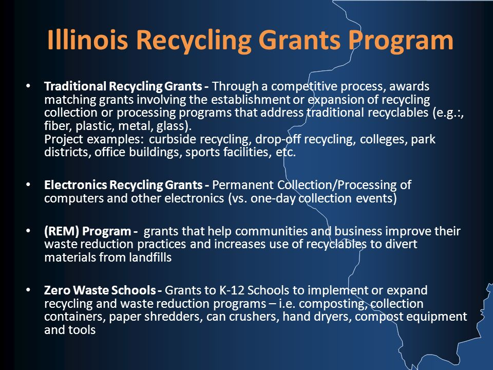 Traditional Recycling Grants - Through a competitive process, awards matching grants involving the establishment or expansion of recycling collection or processing programs that address traditional recyclables (e.g.:, fiber, plastic, metal, glass).