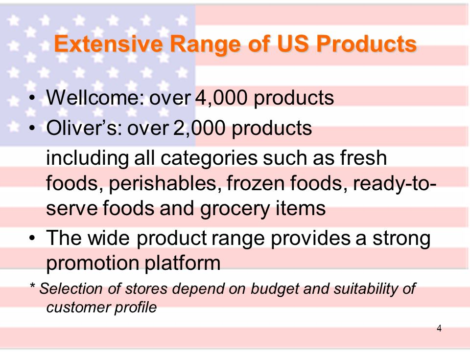 15 Sales Promotion Food Demonstrations –Food sampling will be held at in-store booths to encourage trial and purchase of US fresh foods –The booths will be decorated with America identity e.g.