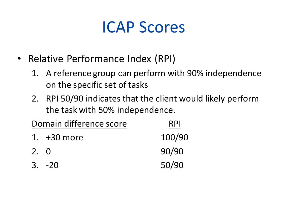 ICAP Scores Relative Performance Index (RPI) 1.A reference group can perform with 90% independence on the specific set of tasks 2.RPI 50/90 indicates