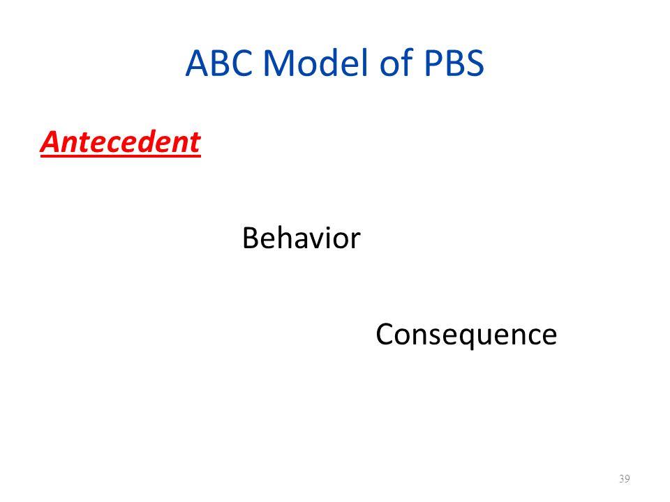 ABC Model of PBS Antecedent Behavior Consequence 39