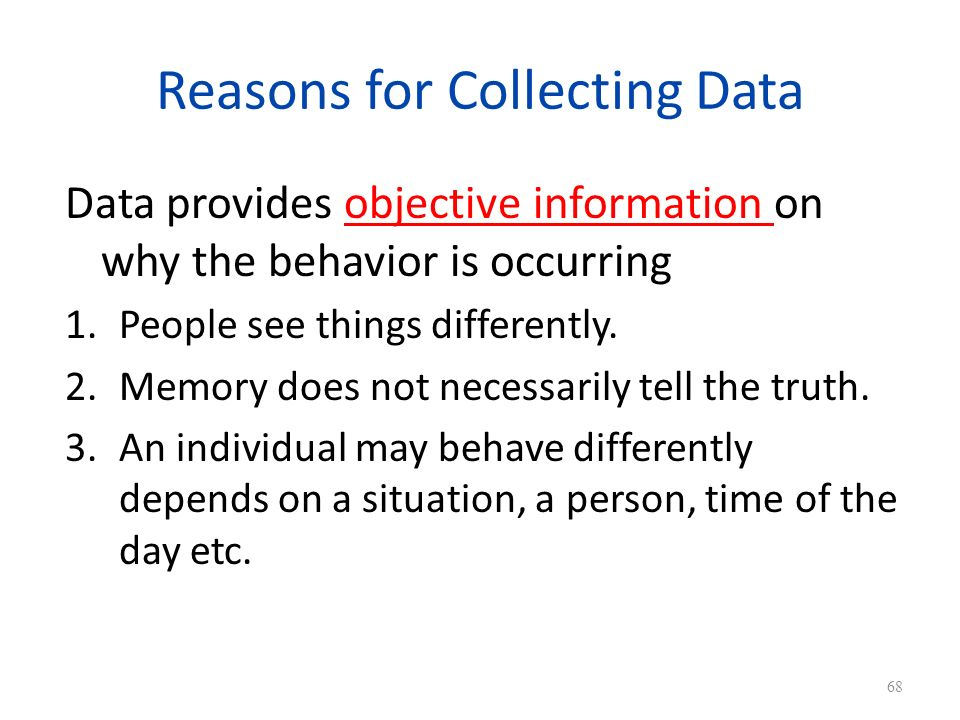 Reasons for Collecting Data Data provides objective information on why the behavior is occurring 1.People see things differently.