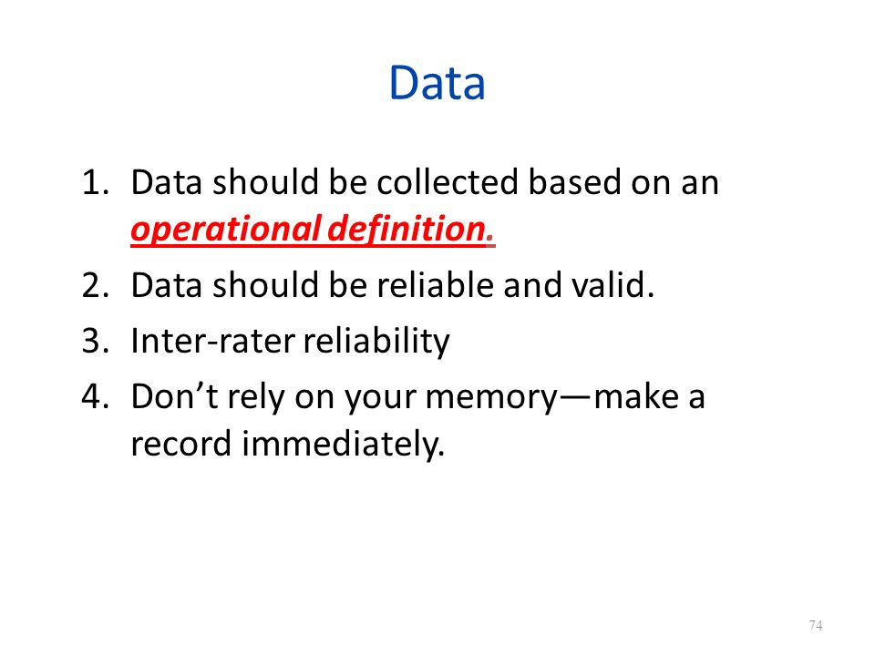 Data 1.Data should be collected based on an operational definition.