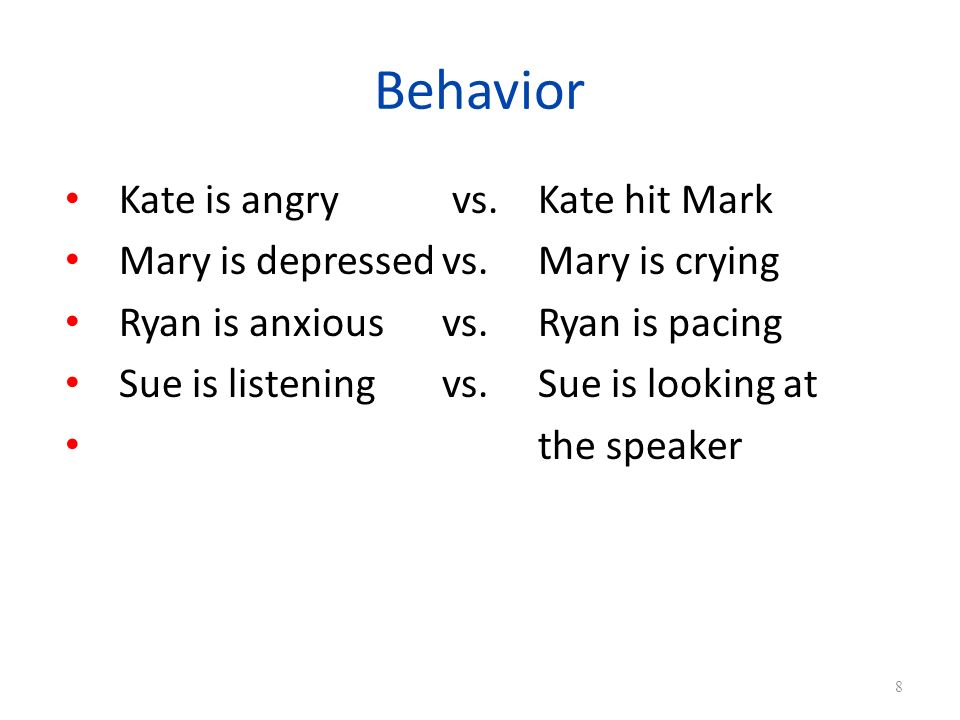 Behavior Kate is angry vs. Kate hit Mark Mary is depressedvs.Mary is crying Ryan is anxiousvs.Ryan is pacing Sue is listeningvs.Sue is looking at the