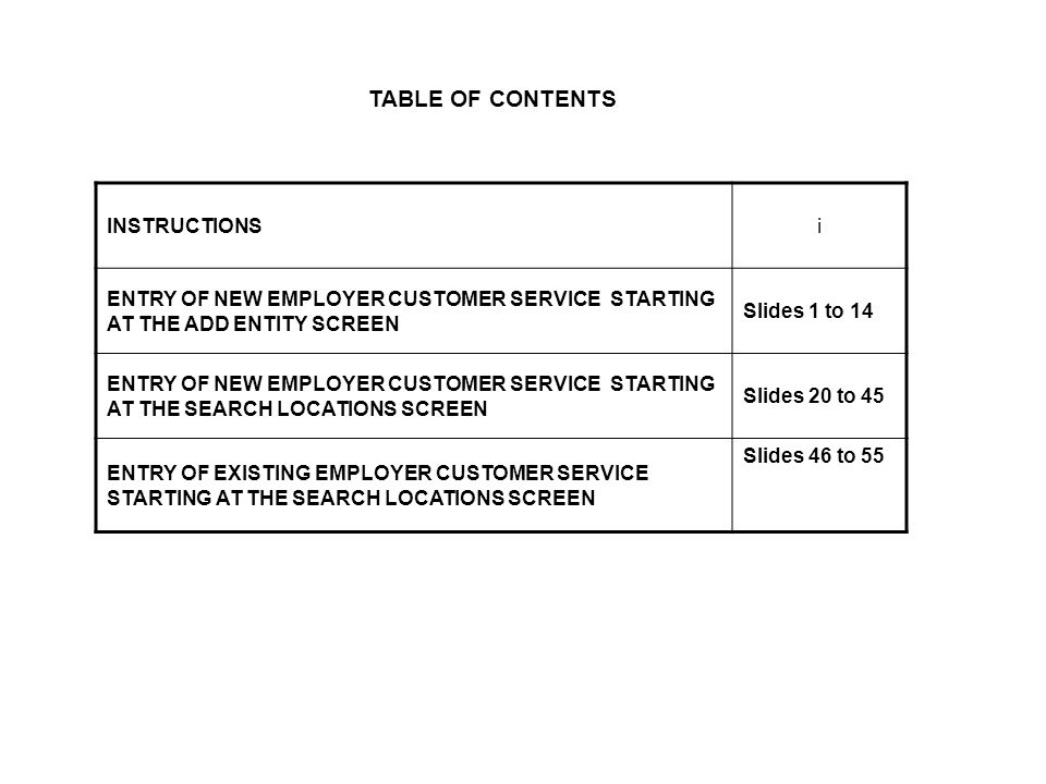 TABLE OF CONTENTS INSTRUCTIONSi ENTRY OF NEW EMPLOYER CUSTOMER SERVICE STARTING AT THE ADD ENTITY SCREEN Slides 1 to 14 ENTRY OF NEW EMPLOYER CUSTOMER SERVICE STARTING AT THE SEARCH LOCATIONS SCREEN Slides 20 to 45 ENTRY OF EXISTING EMPLOYER CUSTOMER SERVICE STARTING AT THE SEARCH LOCATIONS SCREEN Slides 46 to 55