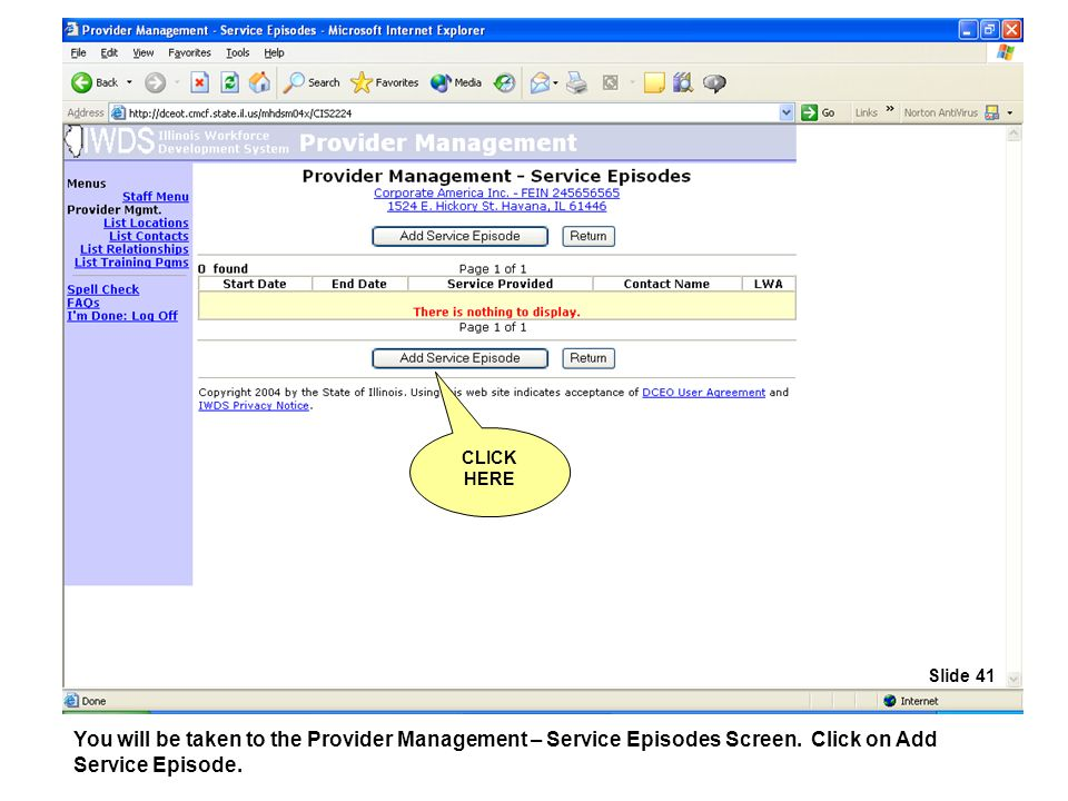 You will be taken to the Provider Management – Service Episodes Screen.
