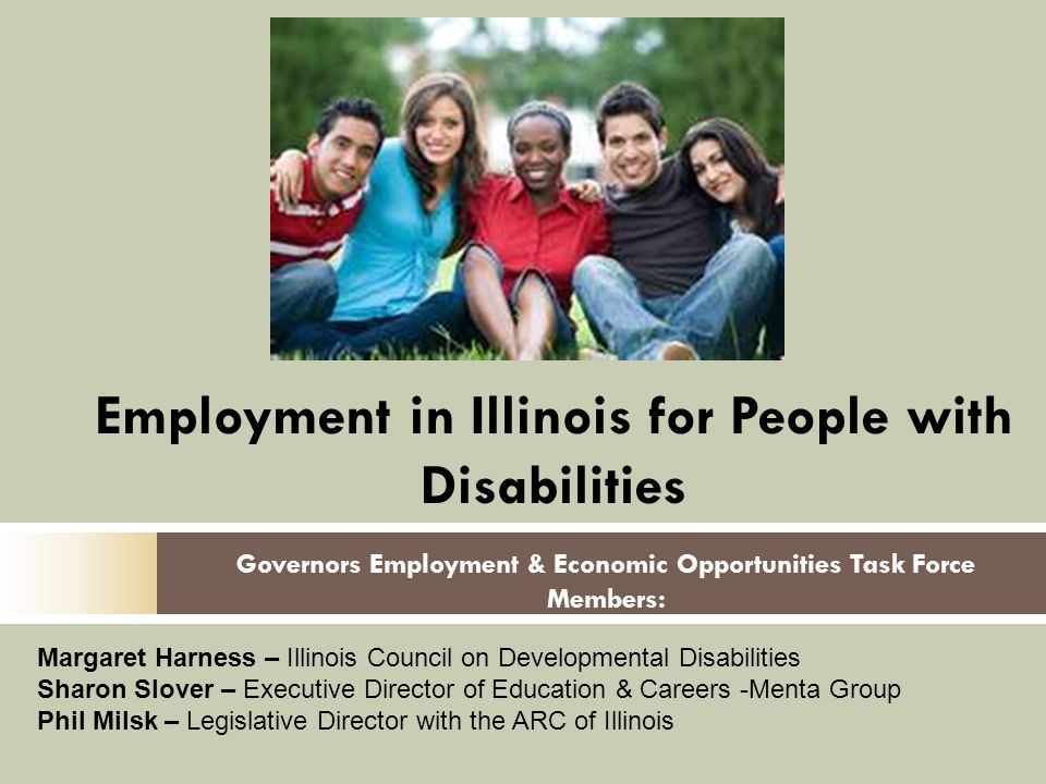 Governors Employment & Economic Opportunities Task Force Members: Employment in Illinois for People with Disabilities Margaret Harness – Illinois Council on Developmental Disabilities Sharon Slover – Executive Director of Education & Careers -Menta Group Phil Milsk – Legislative Director with the ARC of Illinois