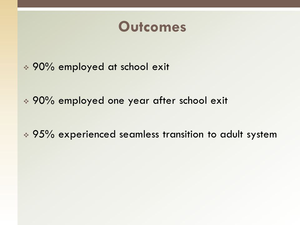 90% employed at school exit 90% employed one year after school exit 95% experienced seamless transition to adult system Outcomes