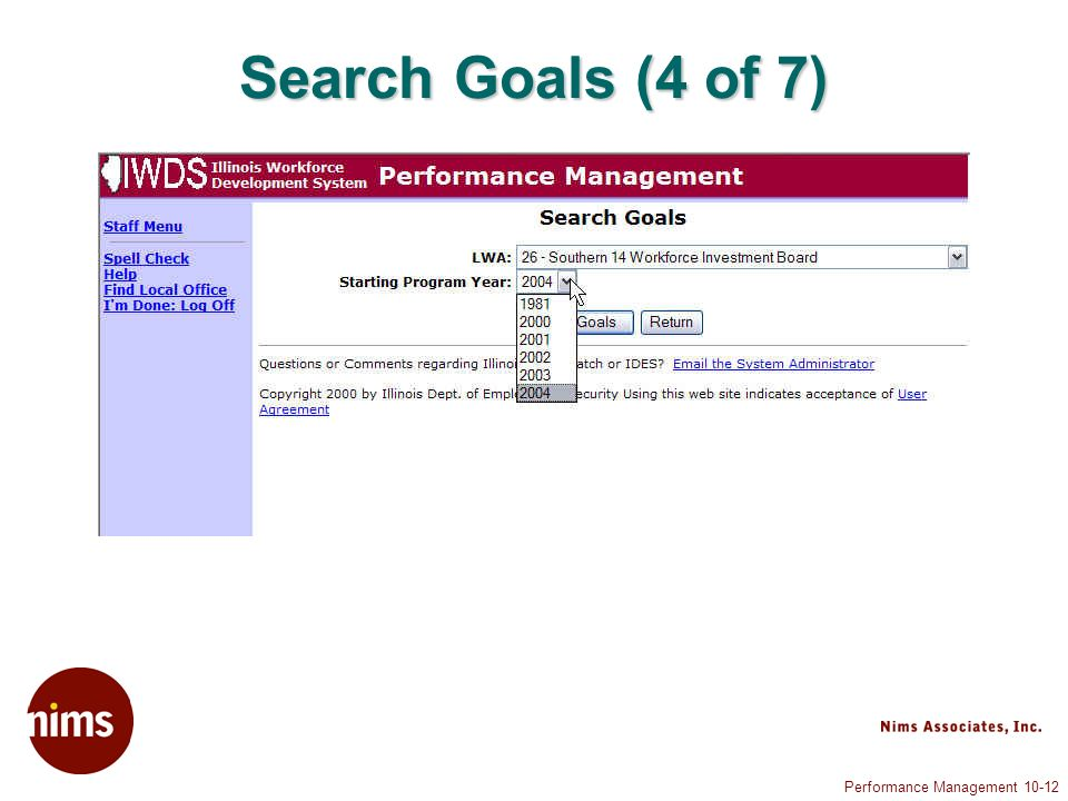 Performance Management 10-12 Search Goals (4 of 7)