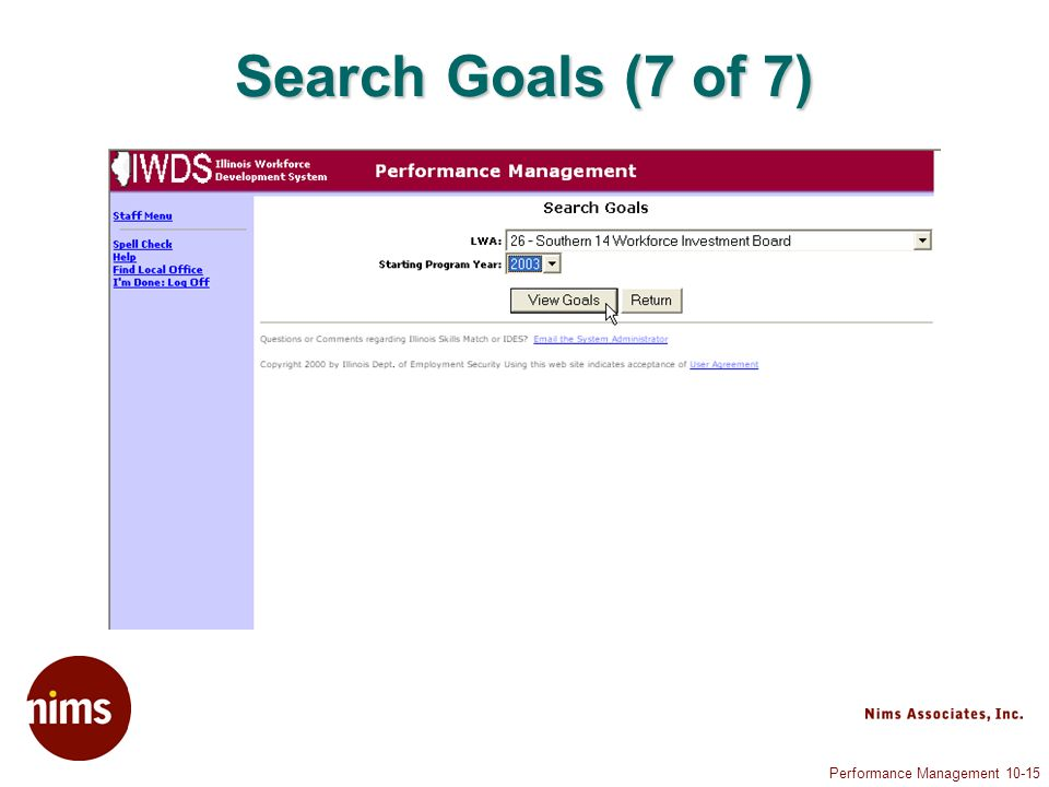 Performance Management 10-15 Search Goals (7 of 7)