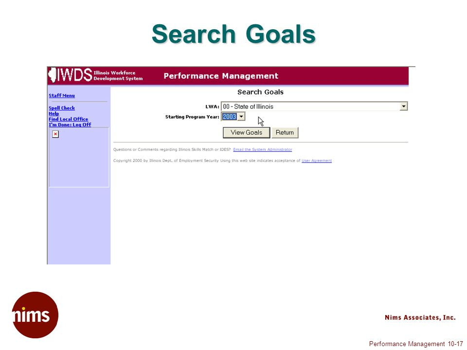 Performance Management 10-17 Search Goals