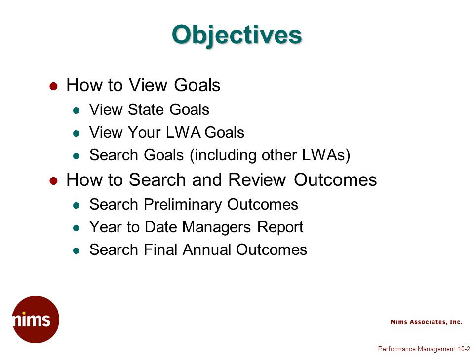 Performance Management 10-13 Search Goals (5 of 7)