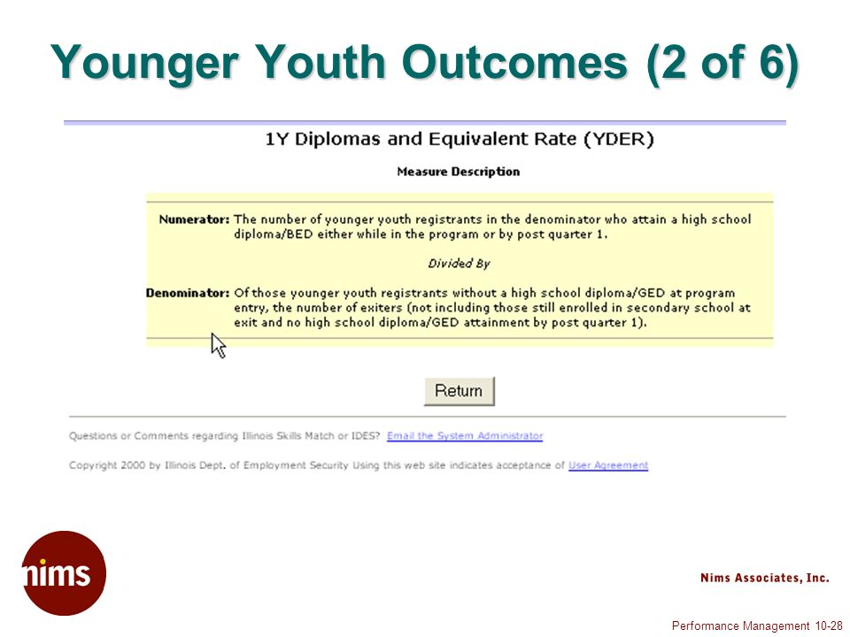 Performance Management 10-28 Younger Youth Outcomes (2 of 6)