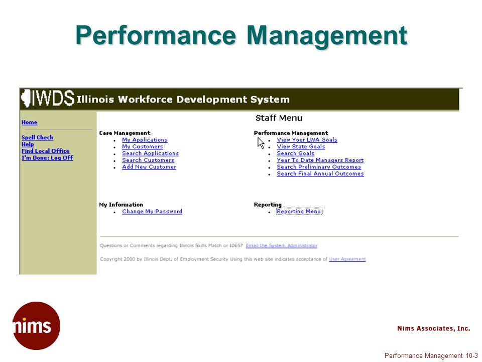 Performance Management 10-4 Staff Menu