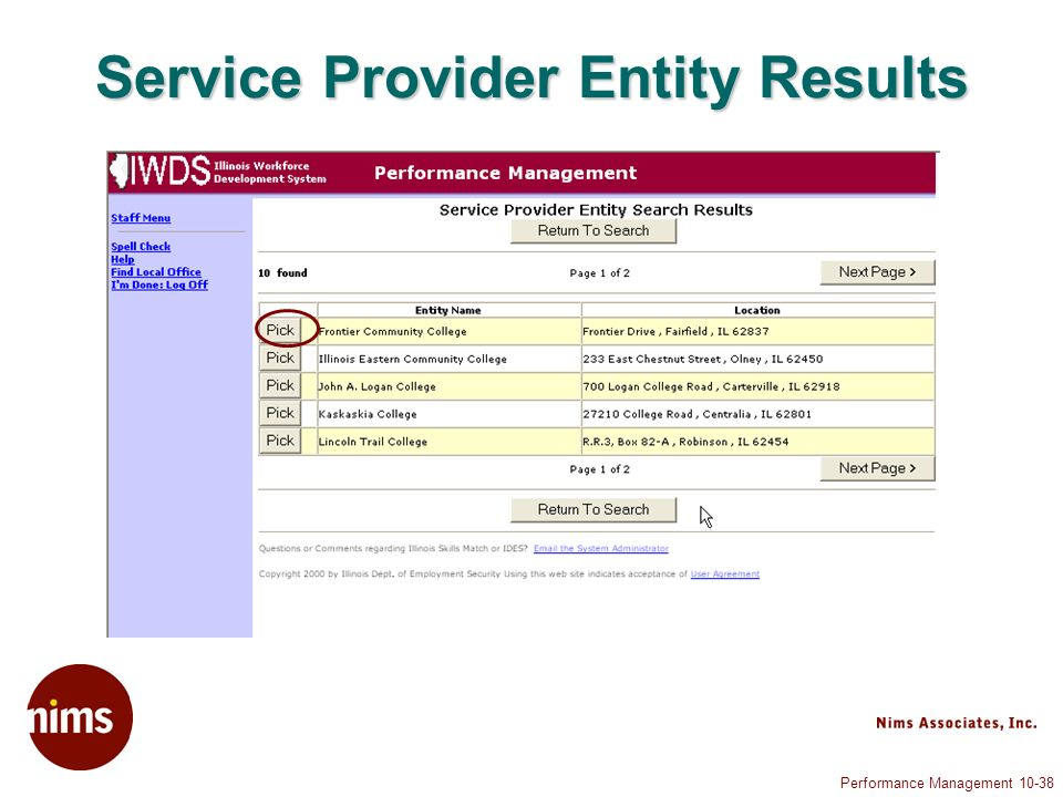 Performance Management Service Provider Entity Results