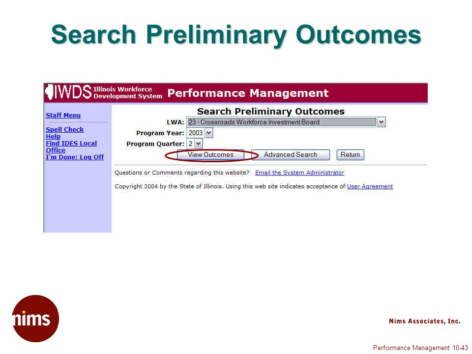 Performance Management 10-43 Search Preliminary Outcomes