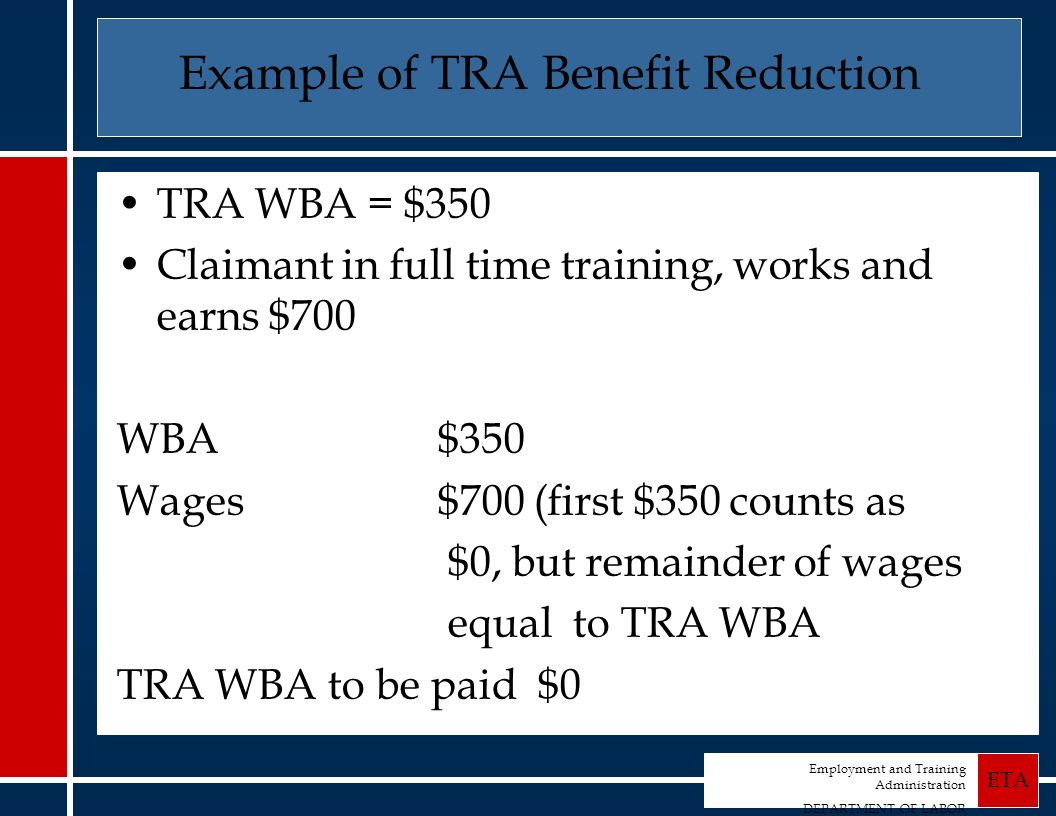 Employment and Training Administration DEPARTMENT OF LABOR ETA Example of TRA Benefit Reduction TRA WBA = $350 Claimant in full time training, works and earns $700 WBA $350 Wages $700 (first $350 counts as $0, but remainder of wages equal to TRA WBA TRA WBA to be paid $0