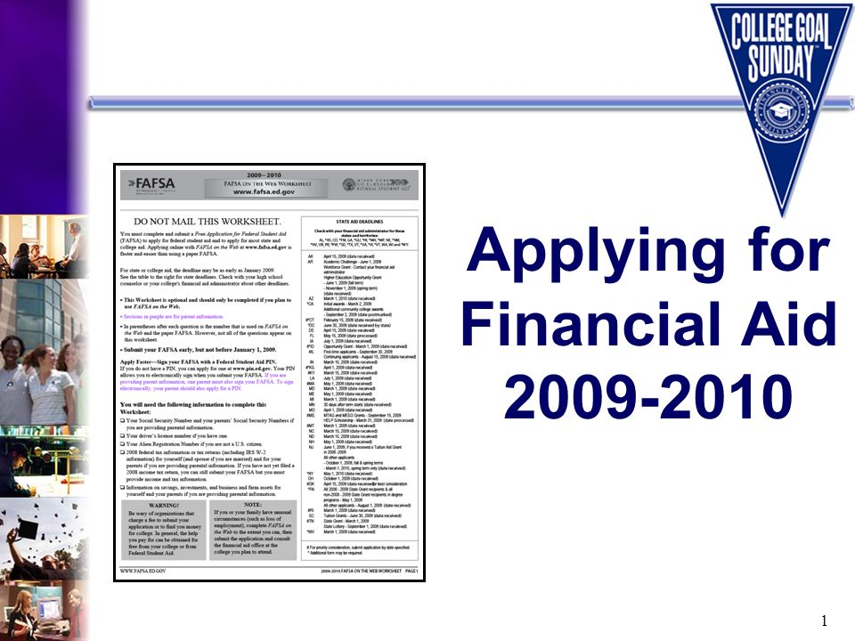 1 Applying for Financial Aid 2009-2010