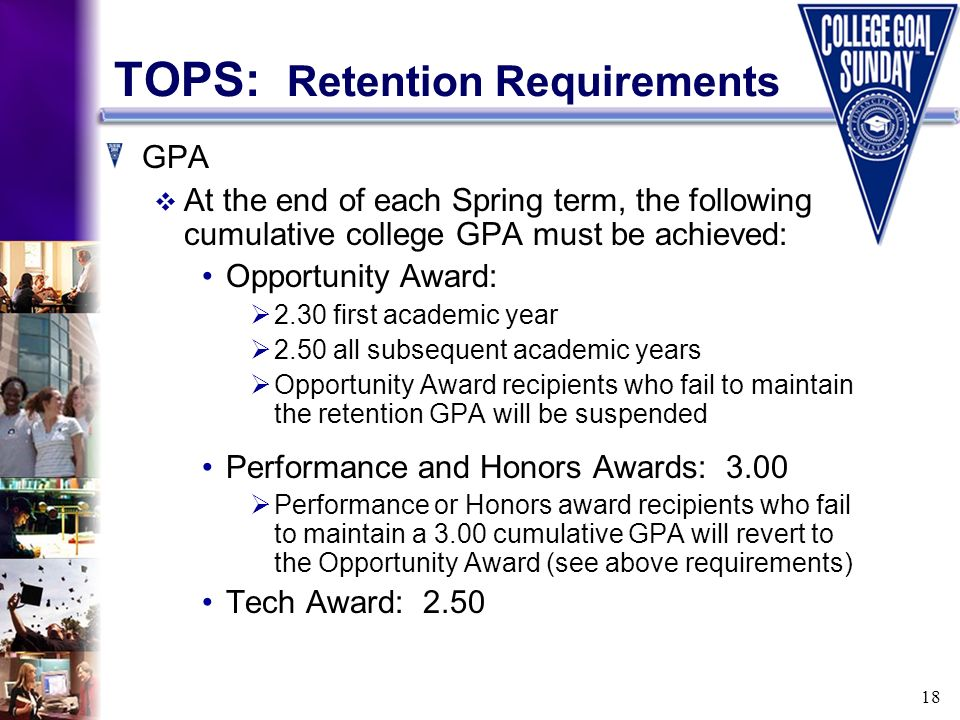 18 TOPS: Retention Requirements GPA At the end of each Spring term, the following cumulative college GPA must be achieved: Opportunity Award: 2.30 fir