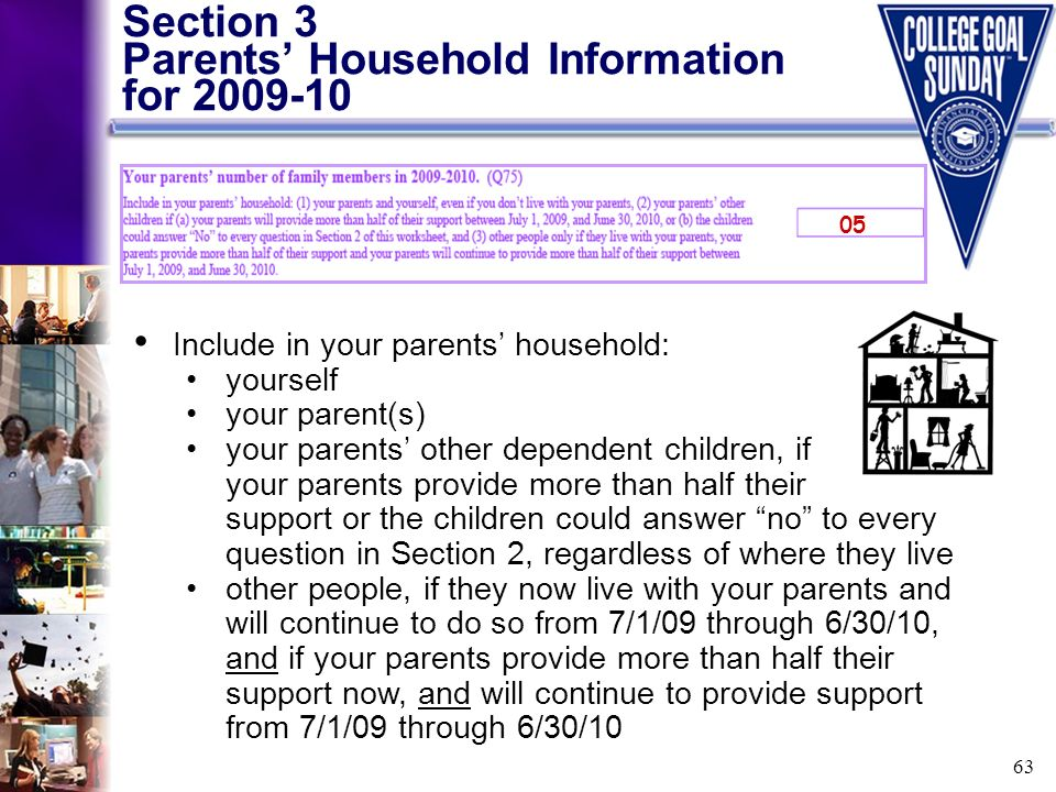 63 Section 3 Parents Household Information for 2009-10 Include in your parents household: yourself your parent(s) your parents other dependent childre