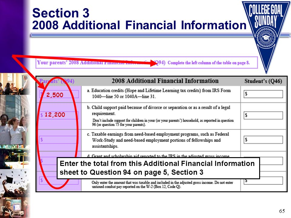 65 Section 3 2008 Additional Financial Information 2,500 12,200 Enter the total from this Additional Financial Information sheet to Question 94 on pag